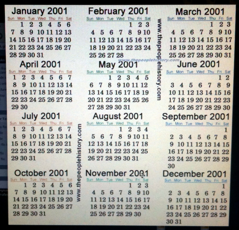 calendar 2001 001-001